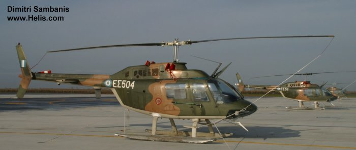 Helicopter Agusta AB206B Serial 8572 Register ES504 used by Elliniki Aeroporia Stratou (Hellenic Army Aviation). Aircraft history and location
