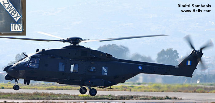 Helicopter NH Industries NH90 TTH Serial 1076 Register ES846 used by Elliniki Aeroporia Stratou (Hellenic Army Aviation). Aircraft history