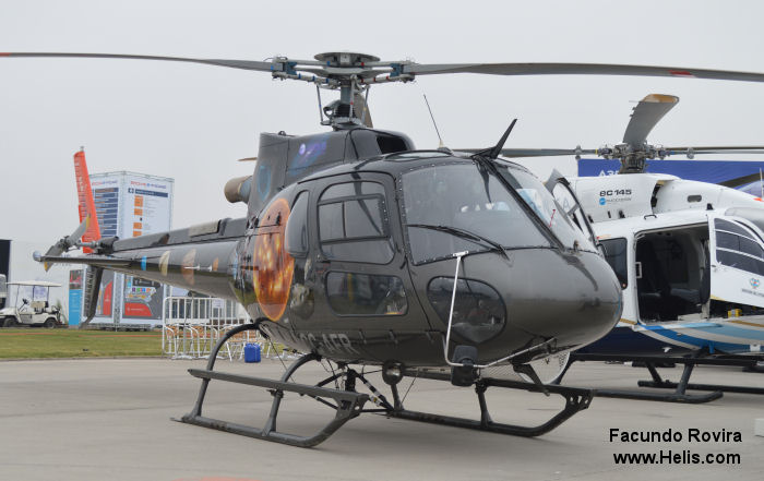 Helicopter Eurocopter AS350B3e Ecureuil Serial 7277 Register CC-AFR used by EcoCopter. Aircraft history