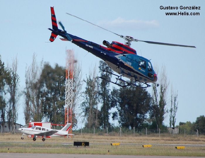 Helicopter Eurocopter HB350B3 Esquilo Serial 4046 Register LQ-BEZ PR-YLB used by Policias Provinciales (Argentine Provinces Police Units) Helibras. Built 2006. Aircraft history and location