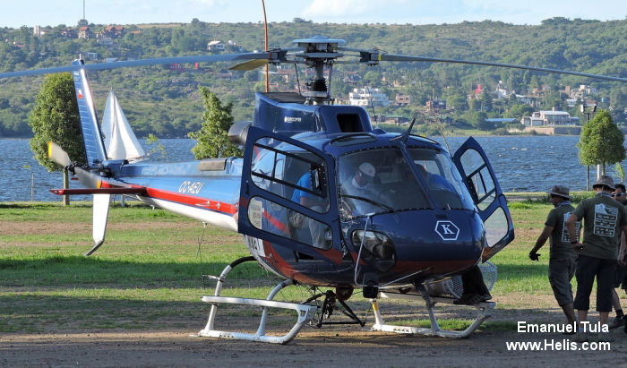 Helicopter Eurocopter AS350B3e Ecureuil Serial 7234 Register CC-AEU used by Servicios Aereos Kipreos. Aircraft history