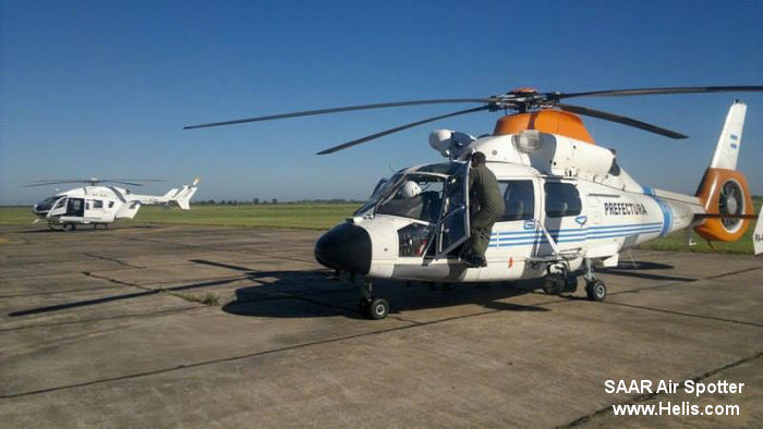 Helicopter Eurocopter AS365N2 Dauphin 2 Serial 6479 Register PA-43 LQ-WLL used by Prefectura Naval Argentina (Argentine Coast Guard) Policia Federal Argentina (Argentine Federal Police). Built 1995. Aircraft history and location