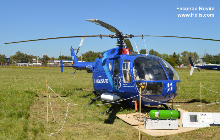 Helicopter MBB Bo105CBS-2 Serial S-399 Register D-HDLO D-HNWB LQ-ZZW LV-ZZW used by MBB Landespolizei (German Local Police) Policias Provinciales (Argentine Provinces Police Units). Built 1978. Aircraft history