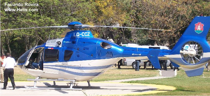 Helicopter Eurocopter EC135T2+ Serial 0773 Register LQ-CCZ used by Gobiernos Provinciales Gobierno de Cordoba (Cordoba Province Government). Aircraft history and location
