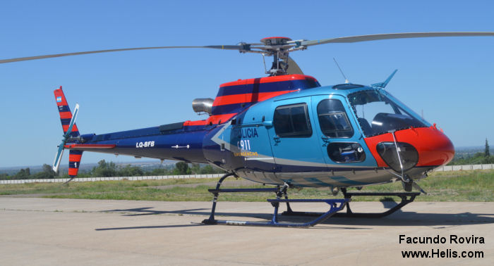 Helicopter Eurocopter HB350B3 Esquilo Serial 4023 Register LQ-BFB PR-YLA used by Policias Provinciales (Argentine Provinces Police Units) ,Helibras. Built 2006. Aircraft history and location