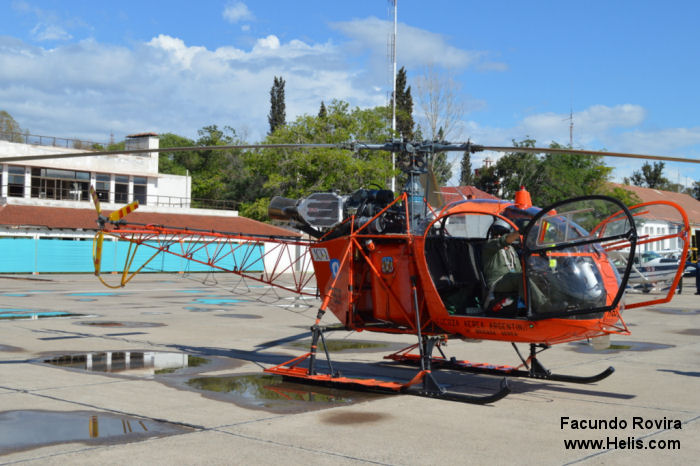 Helicopter Aerospatiale SA315B Lama Serial 2496 Register H-63 used by Fuerza Aerea Argentina (Argentine Air Force). Aircraft history
