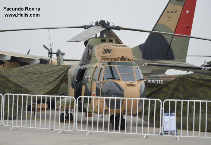 Helicopter Aerospatiale SA330L Puma Serial 1527 Register H264 UN-135 used by Ejercito de Chile (Chilean Army) United Nations. Aircraft history