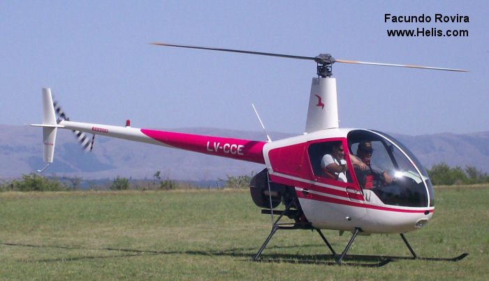 Helicopter Robinson R22 Beta II Serial 4420 Register LV-CCE. Built 2008. Aircraft history
