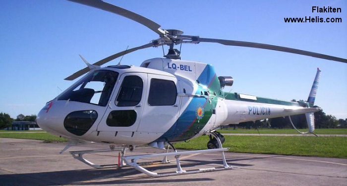 Helicopter Eurocopter HB350B3 Esquilo Serial 3867 Register LQ-BEL PP-MAX used by Policias Provinciales (Argentine Provinces Police Units) ,Helibras. Built 2006. Aircraft history and location