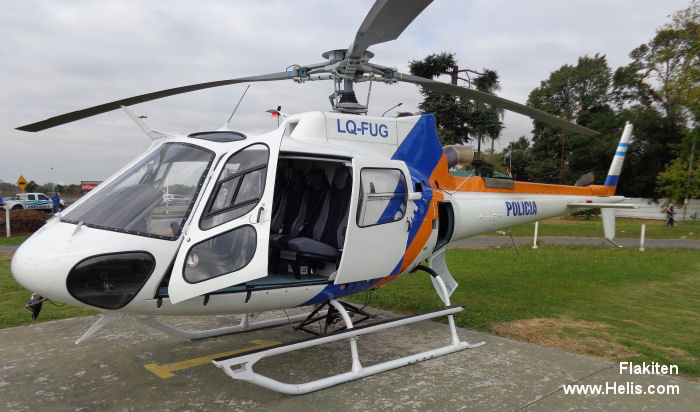 Helicopter Eurocopter AS350B3e Ecureuil Serial 7456 Register CC-AIO LQ-FUG used by Eurocopter Cono Sur Policias Provinciales (Argentine Provinces Police Units). Built 2012. Aircraft history