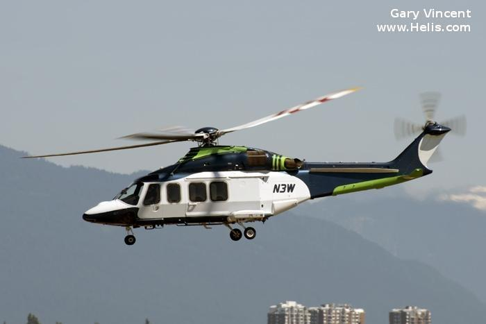 Helicopter AgustaWestland AW139 Serial 41211 Register N3W used by TVPX. Built 2009. Aircraft history and location