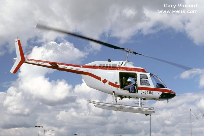 Helicopter Bell 206B-2 Jet Ranger Serial 1247 Register C-GCHC used by Canadian Coast Guard. Built 1974. Aircraft history and location