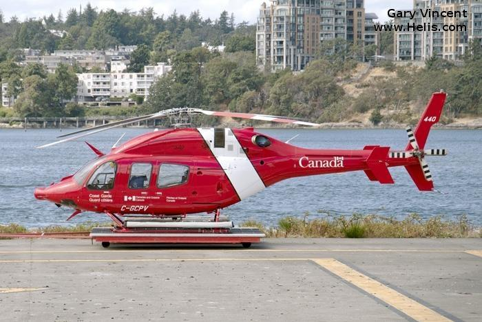 Helicopter Bell 429 Serial 57256 Register C-GCPV used by Canadian Coast Guard. Built 2015. Aircraft history and location
