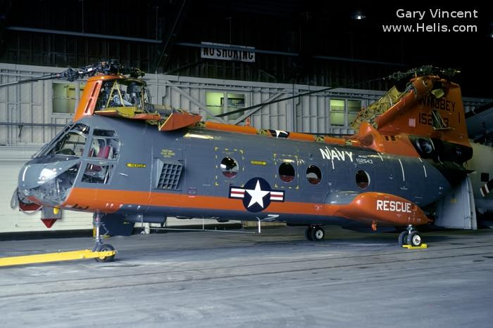 Helicopter Boeing-Vertol CH-46A Serial 2165 Register 152543 used by US Navy USN (United States Naval Aviation) ,US Marine Corps USMC. Built 1966. Aircraft history and location
