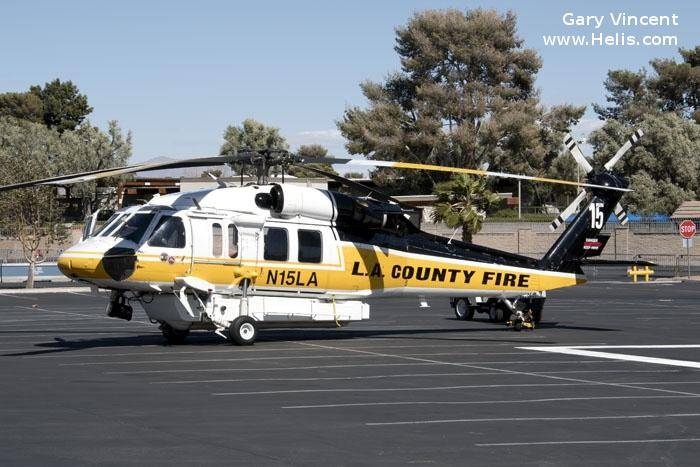 Helicopter Sikorsky S-70 Firehawk Serial 70-2846 Register N15LA used by State of California. Built 2004. Aircraft history and location
