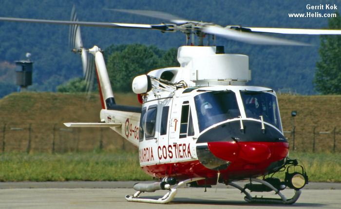 Helicopter Agusta AB412SP Serial 25628 Register MM81384 used by Guardia Costiera (Italian Coast Guard). Aircraft history and location