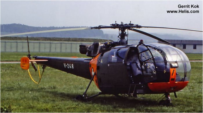 Helicopter F+W Emmen SA316B Alouette III Serial 124/1070 Register V-248 used by Schweizer Luftwaffe (Swiss Air Force). Aircraft history