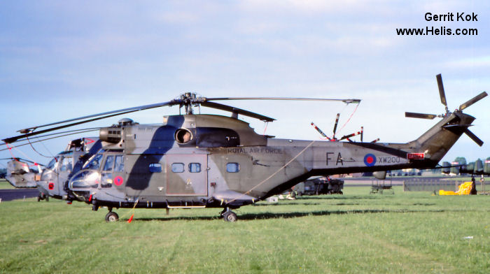 Helicopter Aerospatiale SA330E Puma Serial 1048 Register XW200 used by Royal Air Force. Built 1971. Aircraft history