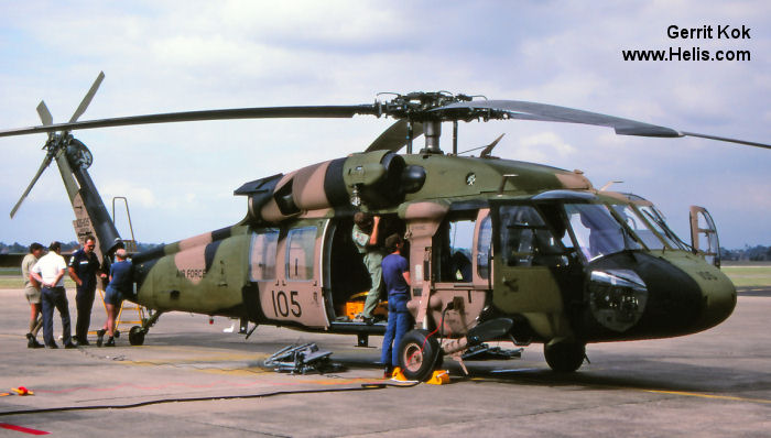 Helicopter Sikorsky S-70A-9 Black Hawk Serial 70-1123 Register A25-105 used by Australian Army Aviation (Australian Army) Royal Australian Air Force. Aircraft history