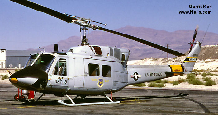 Helicopter Bell UH-1N Serial 31004 Register 68-10775 used by US Air Force USAF. Aircraft history and location