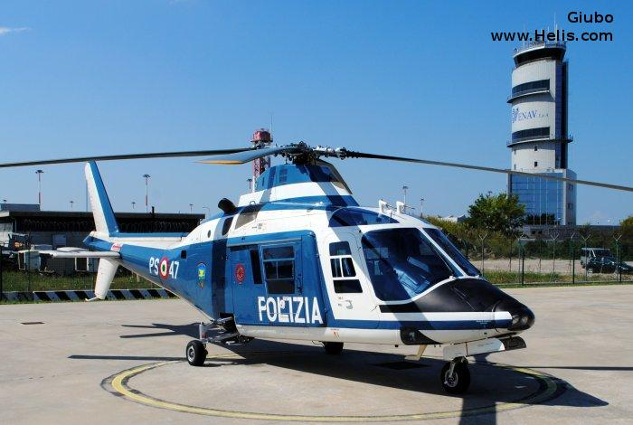 Helicopter Agusta A109a Serial 7196 Register MM80747 used by Polizia di Stato (Italian Police). Aircraft history and location