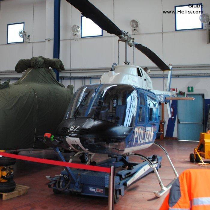 Helicopter Agusta AB206B-3 Serial 8698 Register PS-67 used by Polizia di Stato (Italian Police). Aircraft history and location