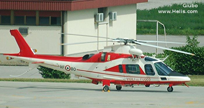 Helicopter AgustaWestland AW109E Power Serial 11202 Register I-DVFA used by Vigili del Fuoco (Italian Firefighters). Built 2003. Aircraft history and location