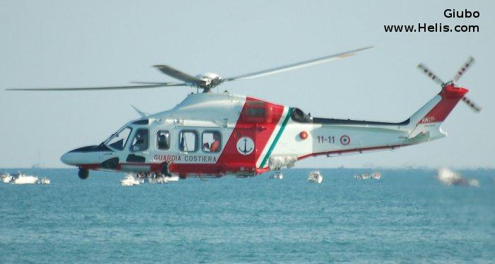 Helicopter AgustaWestland AW139 Serial 31749 Register MM81910 used by Guardia Costiera (Italian Coast Guard). Built 2016. Aircraft history and location