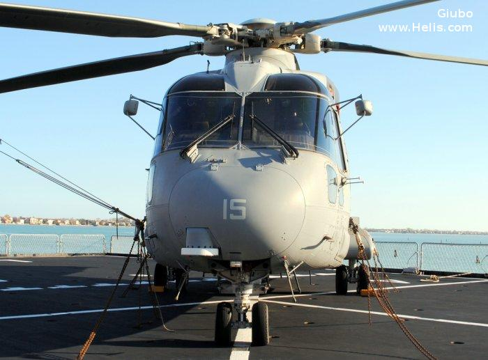 Helicopter AgustaWestland EH101 Mk.410 Serial 50142 Register MM81494 used by Marina Militare Italiana (Italian Navy). Aircraft history and location