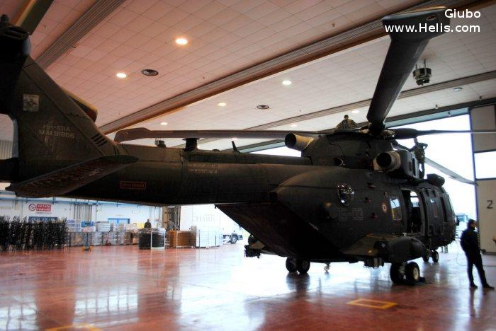 Helicopter AgustaWestland AW101 611 Serial 50259 Register MM81866 used by Aeronautica Militare Italiana AMI (Italian Air Force). Built 2014. Aircraft history and location