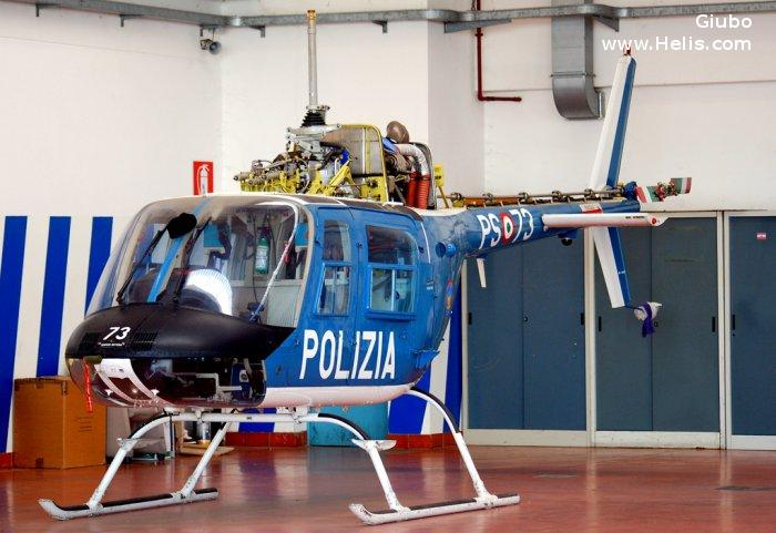 Helicopter Agusta AB206B-3 Serial 8707 Register PS-73 used by Polizia di Stato (Italian Police). Aircraft history and location