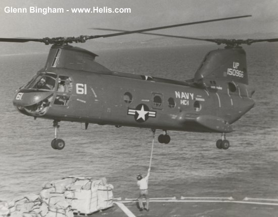 Helicopter Boeing-Vertol UH-46A Serial 2027 Register 150966 used by US Navy (United States Naval Aviation). Built 1964. Aircraft history