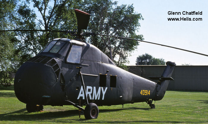 Helicopter Sikorsky H-34A Choctaw Serial 58-194 Register 54-914 used by US Army Aviation. Built 1956. Aircraft history