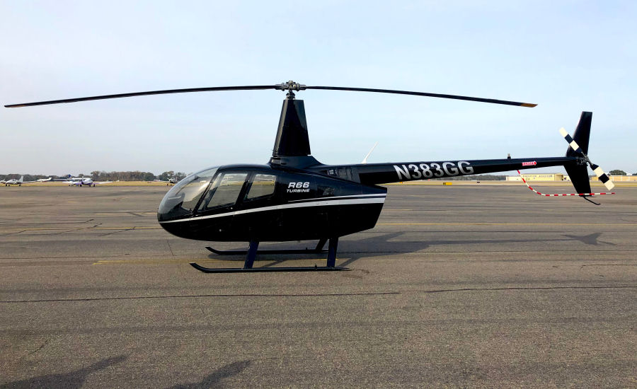 Helicopter Robinson R66 Turbine Serial 0045 Register N383GG used by Robinson Helicopter. Built 2011. Aircraft history