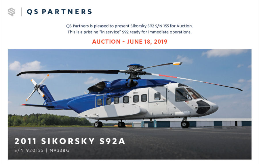 Helicopter Sikorsky S-92A Serial 92-0155 Register N155N N933BG used by Milestone Aviation Sikorsky Helicopters Bristow US. Built 2011. Aircraft history
