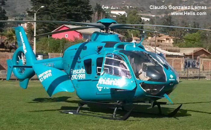 Helicopter Eurocopter EC135T2 Serial 0316 Register CC-CEX used by EcoCopter Clinica Alemana de Santiago. Built 2003. Aircraft history and location