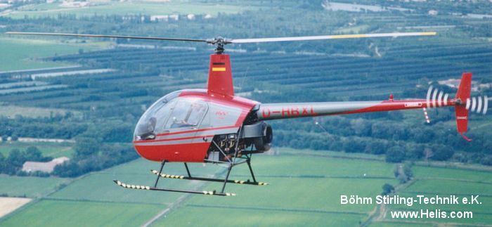 Helicopter Robinson R22 Beta Serial 2185 Register D-HBXL used by Böhm Stirling-Technik e.K.. Built 1992. Aircraft history and location