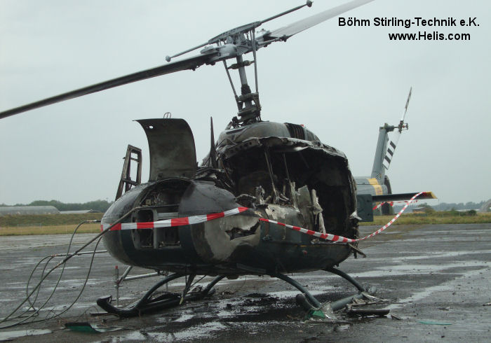 Helicopter Dornier UH-1D Serial 8336 Register 72+16 D-HAQO used by Heeresflieger (German Army Aviation) Böhm Stirling-Technik e.K.. Built 1968. Aircraft history