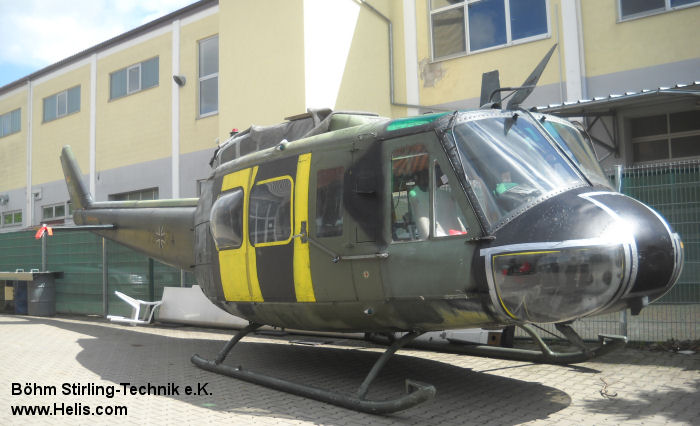 Helicopter Dornier UH-1D Serial 8419 Register 72+99 used by Böhm Stirling-Technik e.K. ,Heeresflieger (German Army Aviation). Built 1969. Aircraft history and location