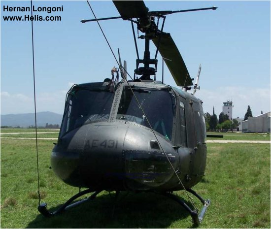 Helicopter Bell UH-1D Iroquois Serial 5827 Register 66-16273 AE-431 used by US Army Aviation Aviacion de Ejercito Argentino (Argentine Army Aviation). Aircraft history and location