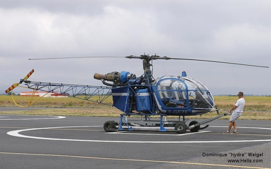 Helicopter Aerospatiale SA318C Alouette II Serial 2352 Register D-HHFS F-GFZF SX-HAN used by Olympic Airways. Built 1973. Aircraft history and location