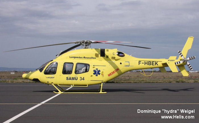 Helicopter Bell 429 Serial 57154 Register F-HBEK SE-JRC C-GWEG used by Service d'Aide Medicale d'Urgence SAMU (emergency medical assistance service) ,INAER France ,Scandinavian AirAmbulance SAA ,Bell Helicopter Canada. Built 2013. Aircraft history and location