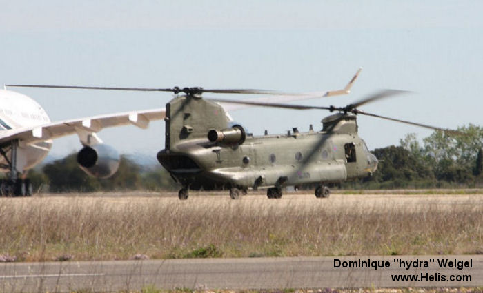 Helicopter Boeing CH-47D Chinook Serial M.7003 Register ZA710 used by Royal Air Force RAF. Aircraft history and location
