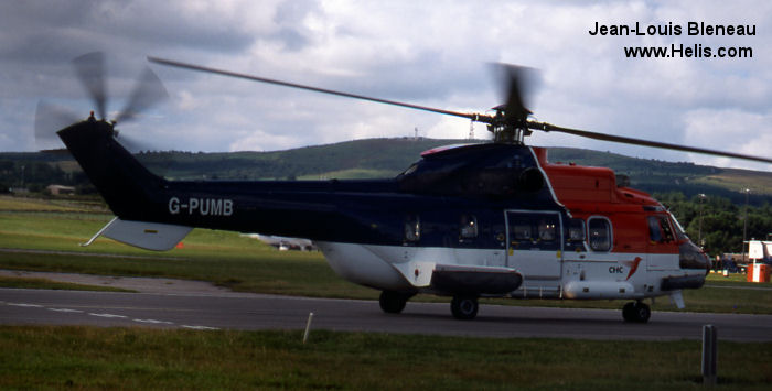 Helicopter Aerospatiale AS332L Super Puma Serial 2075 Register C-GJEB G-PUMB VH-LYS used by CHC (Canadian Helicopter Corporation) CHC Scotia Bond Aviation Group North Scottish Helicopters CHC Helicopters Australia. Built 1983. Aircraft history