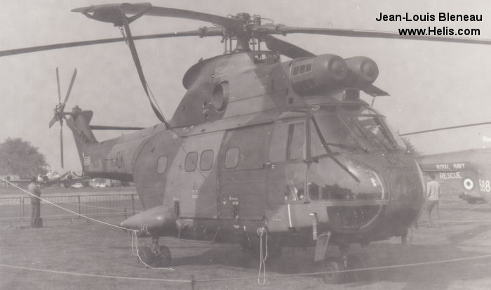 Helicopter Aerospatiale SA330E Puma Serial 1120 Register XW214 used by Royal Air Force RAF. Built 1971. Aircraft history and location