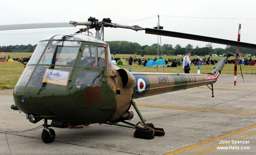 Helicopter Saunders Roe Skeeter 7 Serial S2/5097 Register XL812 G-SARO used by Army Air Corps AAC (British Army). Built 1959. Aircraft history and location