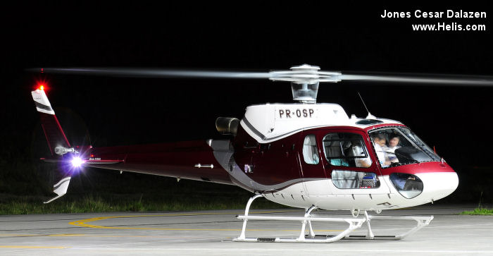Helicopter Eurocopter HB350B3 Esquilo Serial 4334 Register PR-OSP used by Helibras. Aircraft history and location