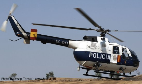 Helicopter MBB Bo105CB-2 Serial S-699 Register EC-DXI used by Cuerpo Nacional de Policia CNP (National Police Corps). Built 1985. Aircraft history and location