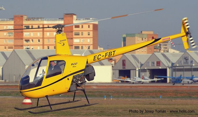 Helicopter Robinson R22 Beta Serial 1593 Register EC-FBT used by Helipistas S.A.. Aircraft history and location