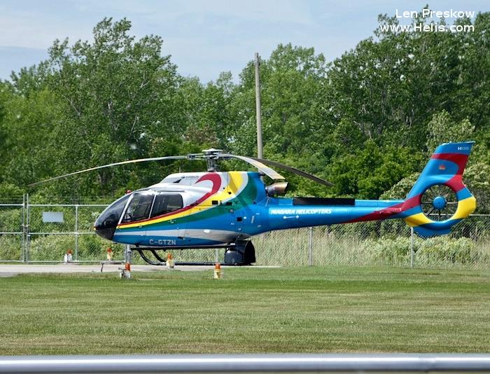 Helicopter Airbus Helicopters H130 / EC130T2 Serial 8023 Register C-GTZN used by Airbus Helicopters Canada Niagara Helicopters. Built 2014. Aircraft history